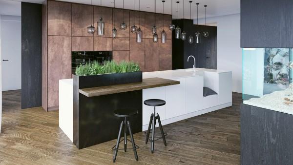 Chất liệu gỗ kết hợp hai màu đen - trắng mang lại sự thanh lịch cho nhà bếp