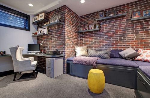 Trang trí phòng làm việc tại nhà với gạch trần