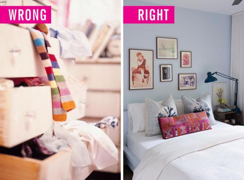 Hãy đảm bảo mọi thứ trong phòng ngủ gọn gàng nhất có thể