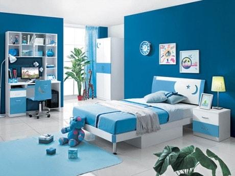 Kết quả hình ảnh cho sơn phòng ngủ màu xanh ngộ nghĩnh