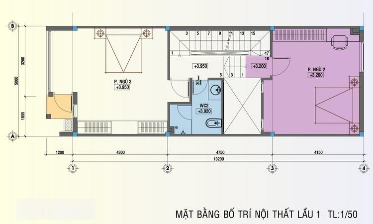 Thiết kế tầng 2 nhà ống 5x20m