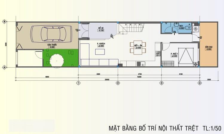 Thiết kế tầng 1 nhà ống 5x20m
